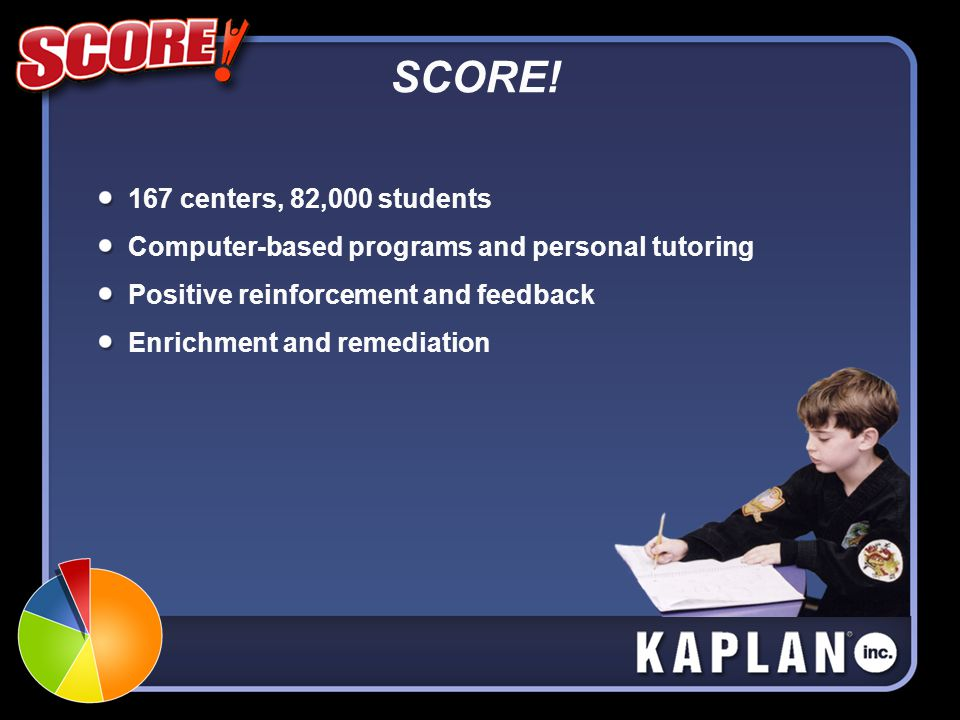 SCORE! 167 centers, 82,000 students Computer-based programs and personal tutoring Positive reinforcement and feedback Enrichment and remediation