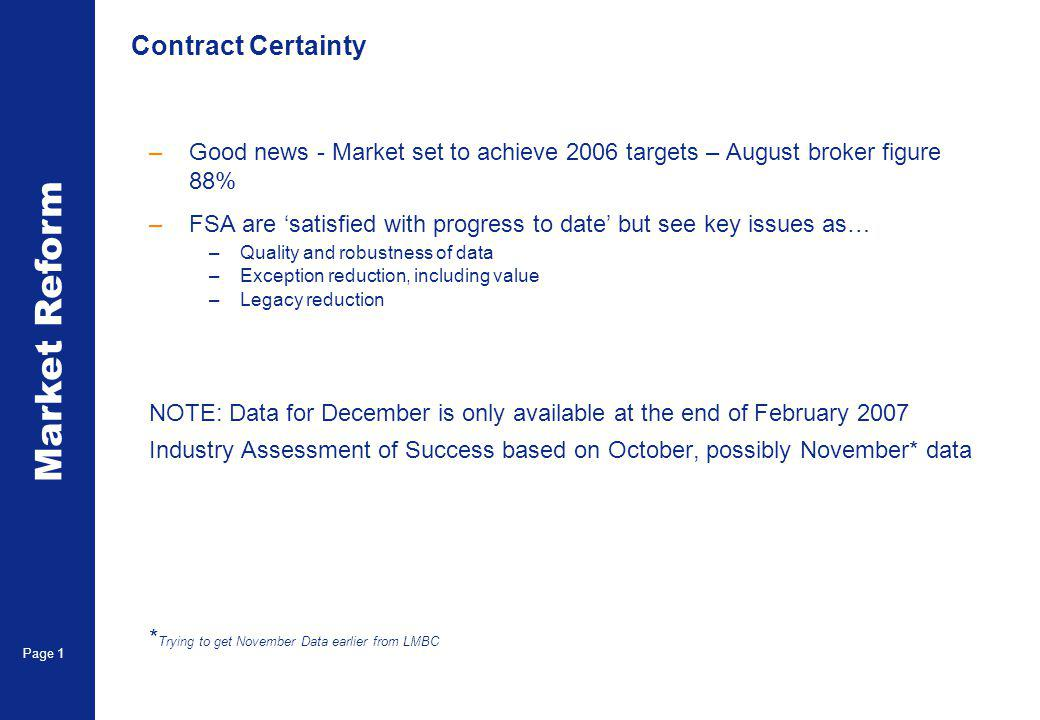 Market Reform Page 2 Time line to conclusion of FSA challenge