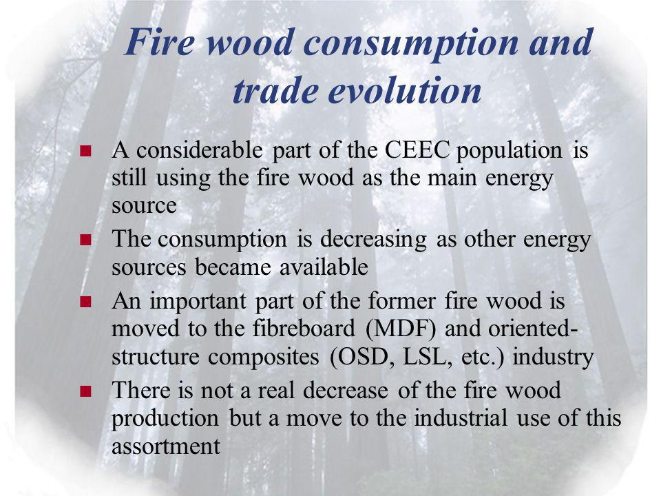 Fire wood consumption and trade evolution A considerable part of the CEEC population is still using the fire wood as the main energy source The consumption is decreasing as other energy sources became available An important part of the former fire wood is moved to the fibreboard (MDF) and oriented- structure composites (OSD, LSL, etc.) industry There is not a real decrease of the fire wood production but a move to the industrial use of this assortment