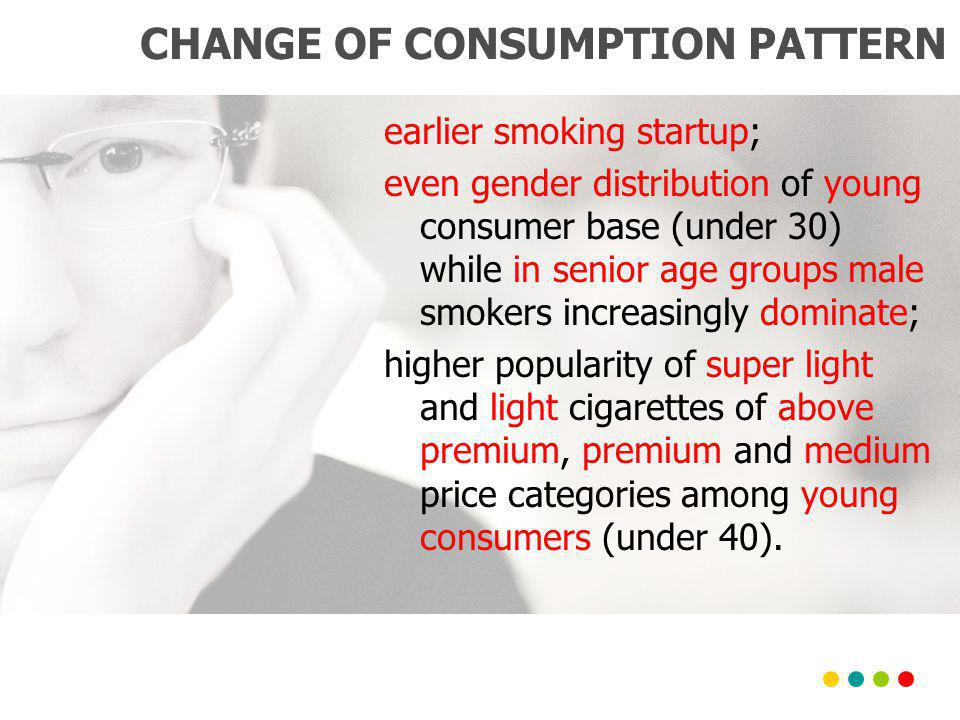 CHANGE OF CONSUMPTION PATTERN earlier smoking startup; even gender distribution of young consumer base (under 30) while in senior age groups male smokers increasingly dominate; higher popularity of super light and light cigarettes of above premium, premium and medium price categories among young consumers (under 40).