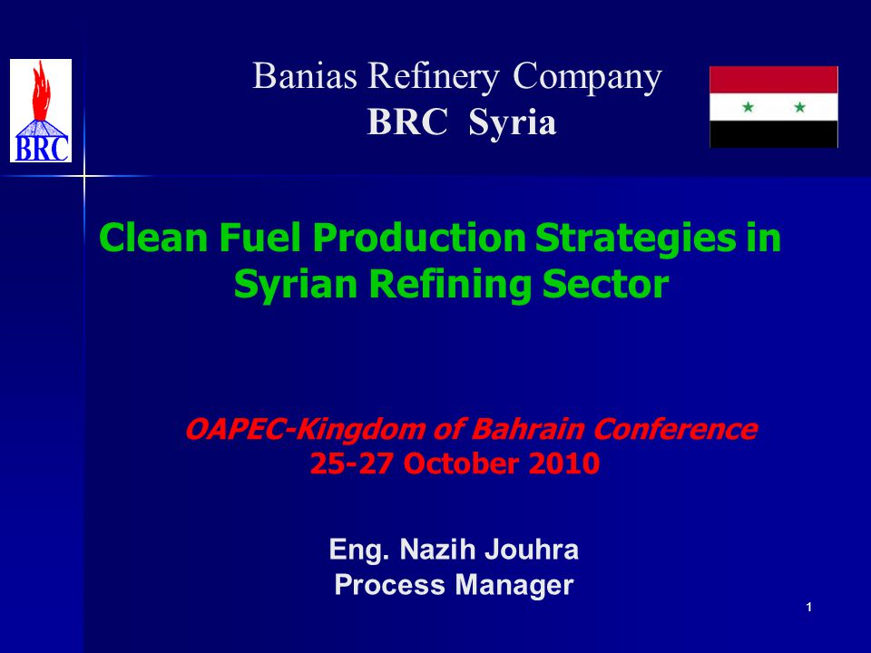 Outlines Introduction (Refining Sector & Projects in Syria) Introduction (Refining Sector & Projects in Syria) Outlook on Syrian Petroleum Products Market Outlook on Syrian Petroleum Products Market Clean Fuel Production Strategies Clean Fuel Production Strategies Impact of Revamping Projects on Refining Sector Impact of Revamping Projects on Refining Sector Conclusion Conclusion 2Upgrading Oil Refineries to Produce Clean Fuel Symposium 25-27 October 2010 OAPEC/NOGA Manama