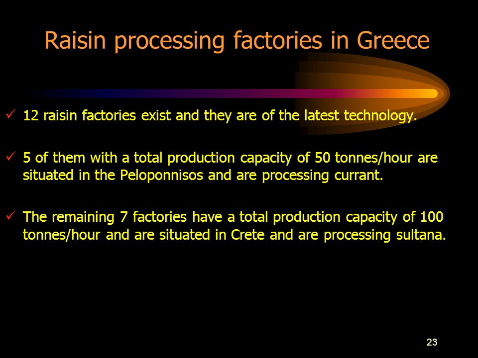 23 Raisin processing factories in Greece 12 raisin factories exist and they are of the latest technology.