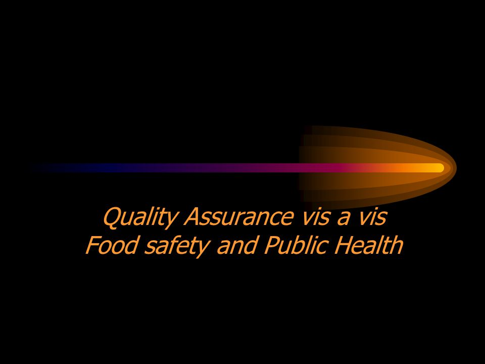 Quality Assurance vis a vis Food safety and Public Health