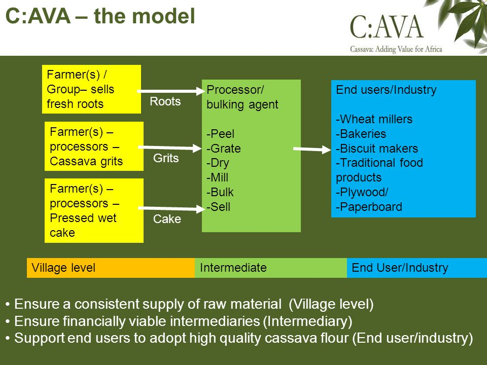 C:AVA – the model Village levelIntermediateEnd User/Industry Farmer(s) / Group– sells fresh roots Processor/ bulking agent -Peel -Grate -Dry -Mill -Bulk -Sell Farmer(s) – processors – Pressed wet cake Farmer(s) – processors – Cassava grits End users/Industry -Wheat millers -Bakeries -Biscuit makers -Traditional food products -Plywood/ -Paperboard Roots Grits Cake Ensure a consistent supply of raw material (Village level) Ensure financially viable intermediaries (Intermediary) Support end users to adopt high quality cassava flour (End user/industry)