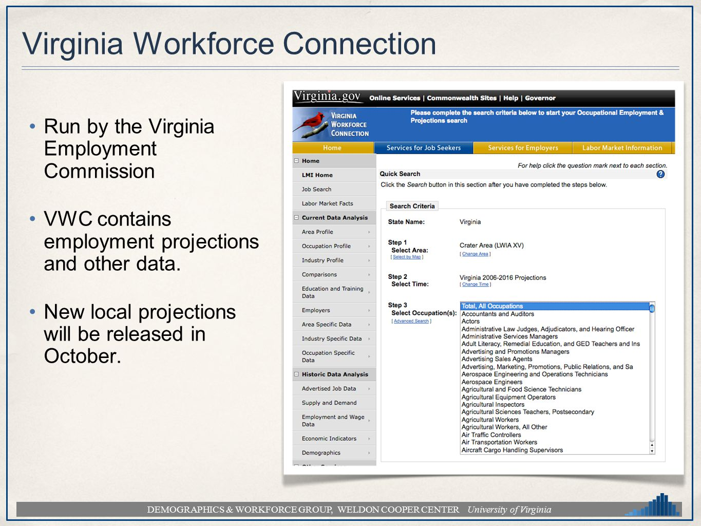 DEMOGRAPHICS & WORKFORCE GROUP, WELDON COOPER CENTER University of Virginia Virginia Workforce Connection Run by the Virginia Employment Commission VW