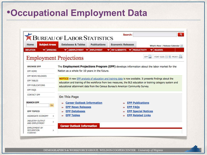 DEMOGRAPHICS & WORKFORCE GROUP, WELDON COOPER CENTER University of Virginia Occupational Employment Data