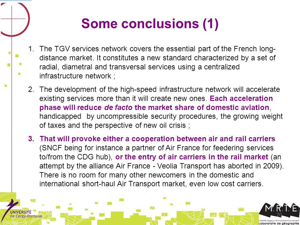 20 Some conclusions (1) 1.The TGV services network covers the essential part of the French long- distance market.