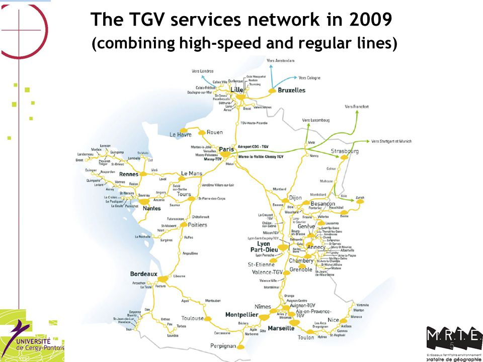 5 The TGV services network in 2009 (combining high-speed and regular lines)