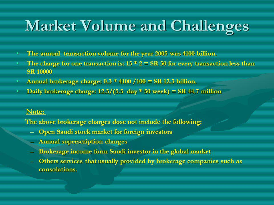Market Volume and Challenges The annual transaction volume for the year 2005 was 4100 billion.The annual transaction volume for the year 2005 was 4100 billion.