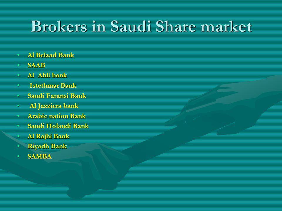 Brokers in Saudi Share market Al Belaad BankAl Belaad Bank SAABSAAB Al Ahli bankAl Ahli bank Istethmar Bank Istethmar Bank Saudi Faransi BankSaudi Far