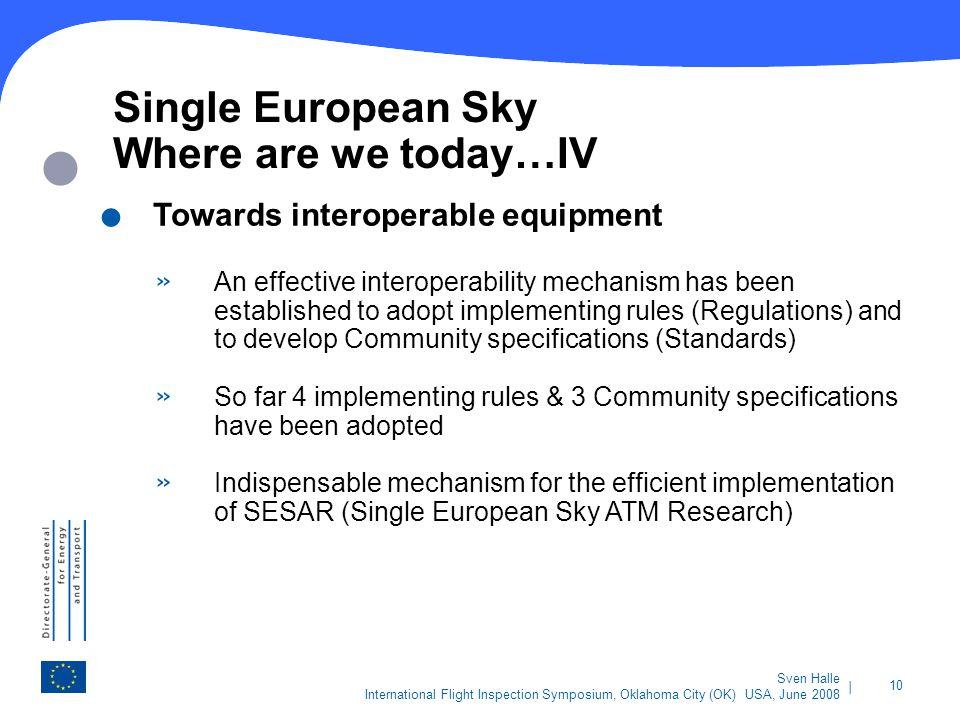 | 10 Sven Halle International Flight Inspection Symposium, Oklahoma City (OK) USA, June 2008 Single European Sky Where are we today…IV. Towards intero