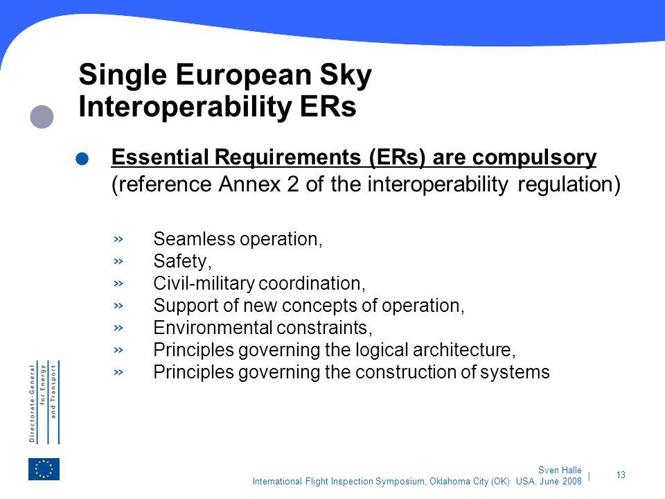 | 13 Sven Halle International Flight Inspection Symposium, Oklahoma City (OK) USA, June 2008 Single European Sky Interoperability ERs. Essential Requi