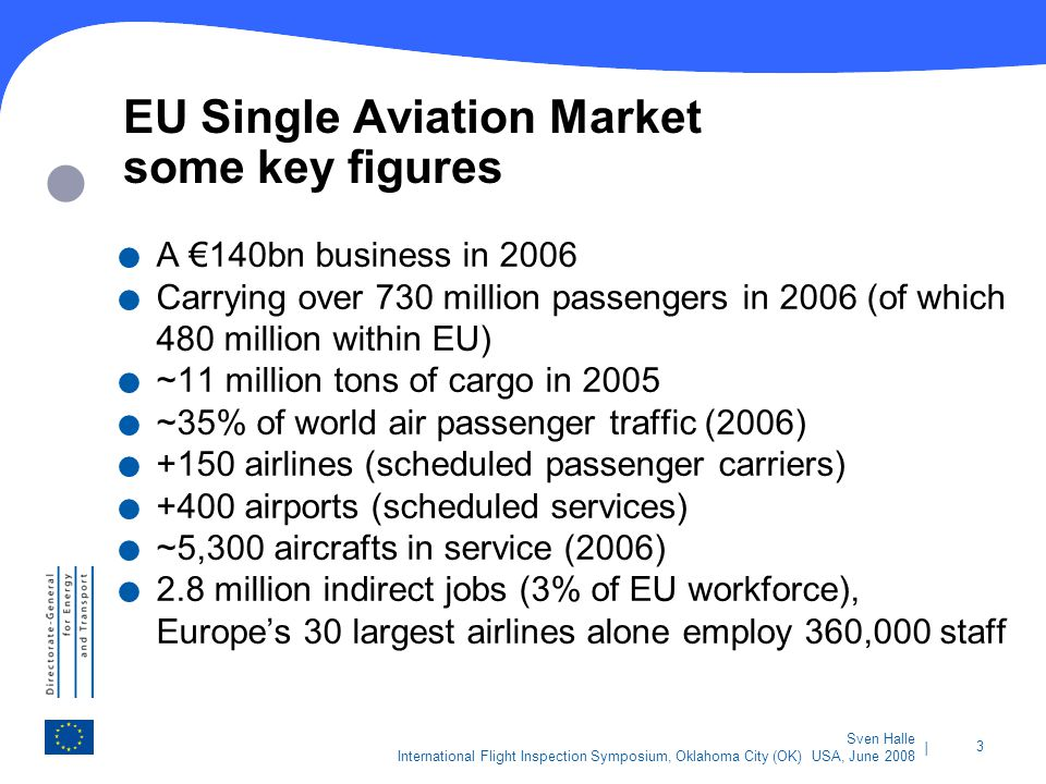 | 3 Sven Halle International Flight Inspection Symposium, Oklahoma City (OK) USA, June 2008 EU Single Aviation Market some key figures. A 140bn busine