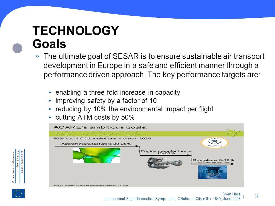| 32 Sven Halle International Flight Inspection Symposium, Oklahoma City (OK) USA, June 2008 TECHNOLOGY Goals » The ultimate goal of SESAR is to ensur