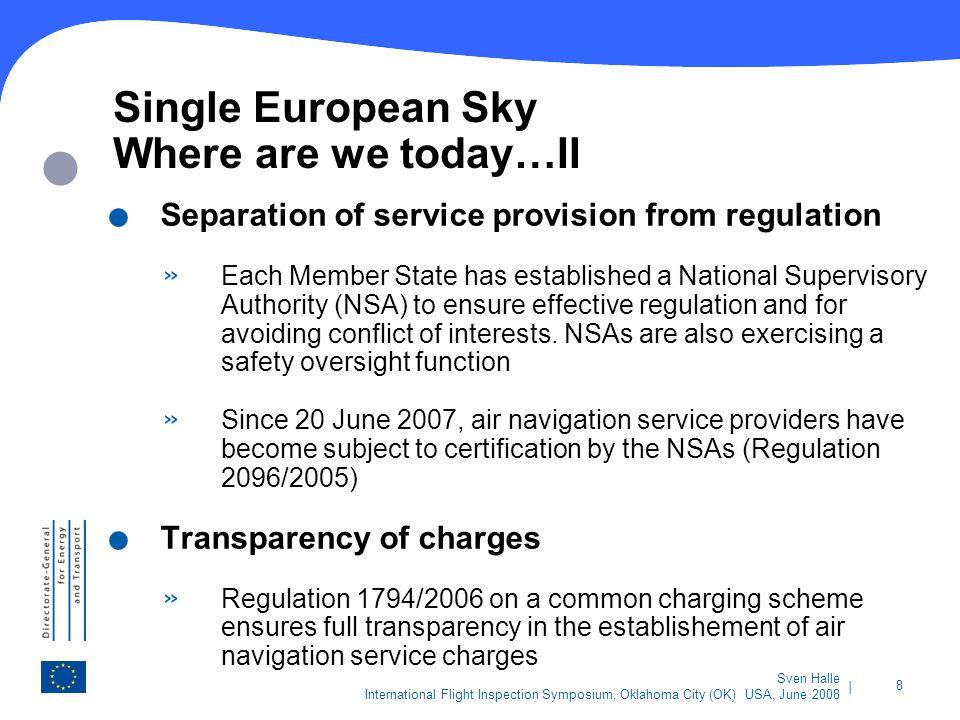 | 8 Sven Halle International Flight Inspection Symposium, Oklahoma City (OK) USA, June 2008 Single European Sky Where are we today…II. Separation of s