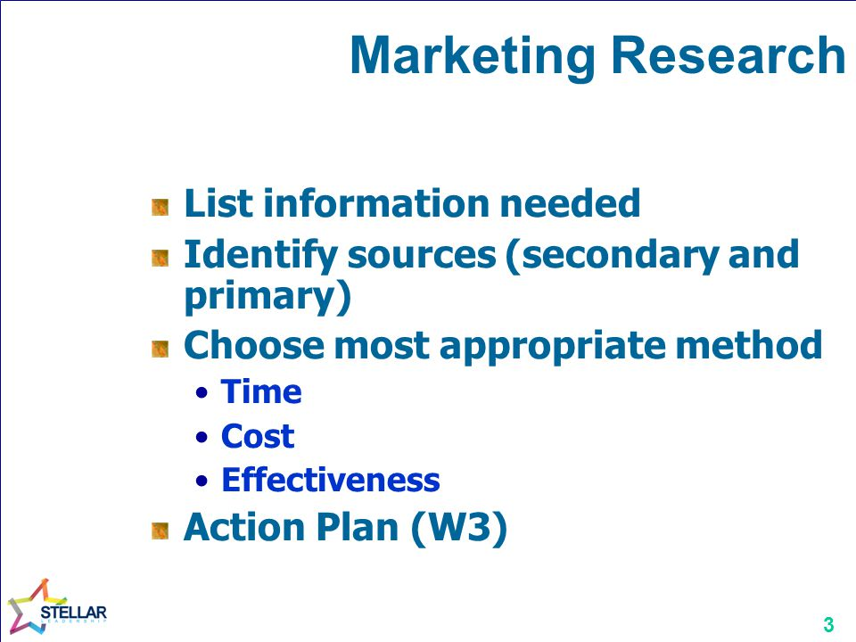 3 Marketing Research List information needed Identify sources (secondary and primary) Choose most appropriate method Time Cost Effectiveness Action Plan (W3)