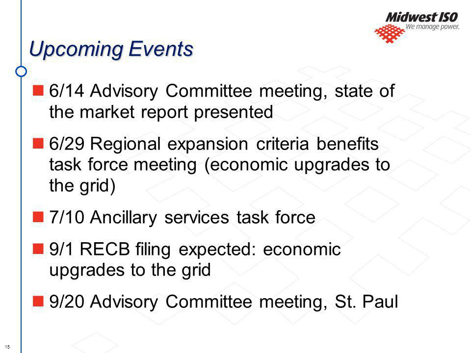 15 Upcoming Events 6/14 Advisory Committee meeting, state of the market report presented 6/29 Regional expansion criteria benefits task force meeting