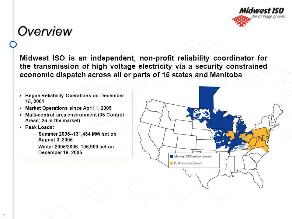 2 Overview Midwest ISO is an independent, non-profit reliability coordinator for the transmission of high voltage electricity via a security constrained economic dispatch across all or parts of 15 states and Manitoba Began Reliability Operations on December 15, 2001 Market Operations since April 1, 2005 Multi-control area environment (35 Control Areas; 26 in the market) Peak Loads: - Summer 2005--131,434 MW set on August 3, 2005 - Winter 2005/2006: 106,900 set on December 19, 2005