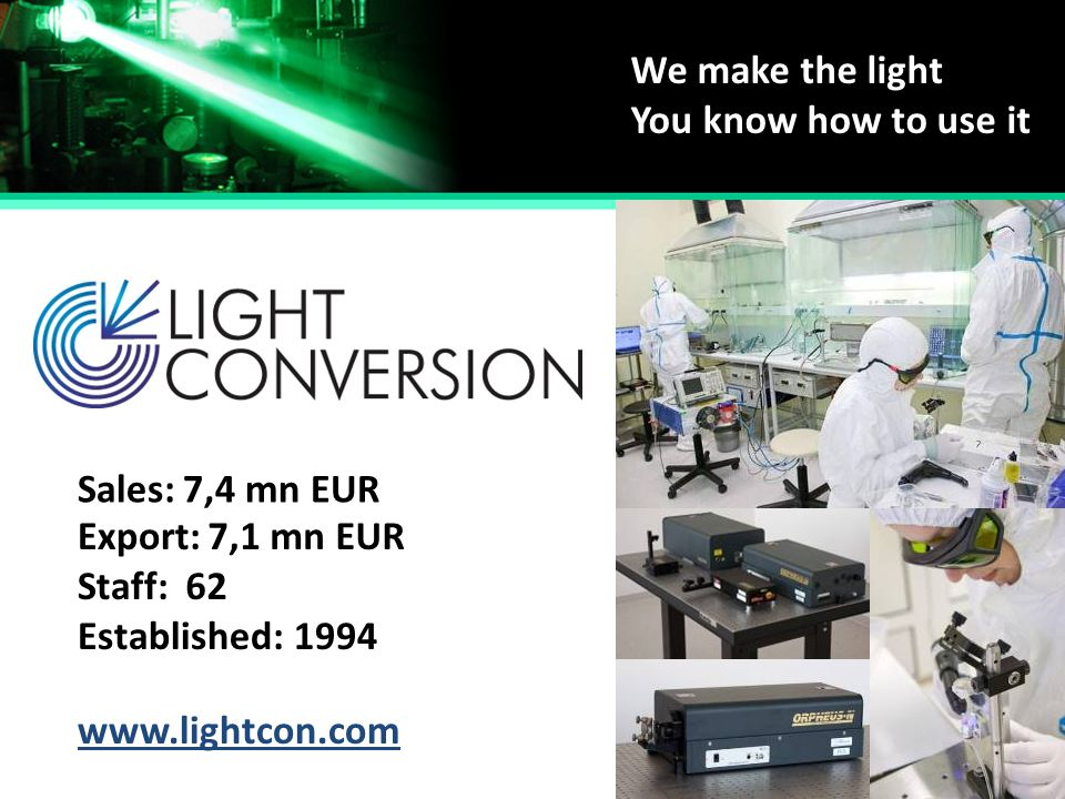 We make the light You know how to use it Established: Staff: Sales: Export: 1994 62 7,4 mn EUR 7,1 mn EUR www.lightcon.com