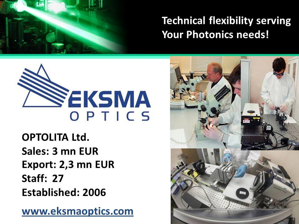 Technical flexibility serving Your Photonics needs! Established: Staff: Sales: Export: OPTOLITA Ltd. 2006 27 3 mn EUR 2,3 mn EUR www.eksmaoptics.com