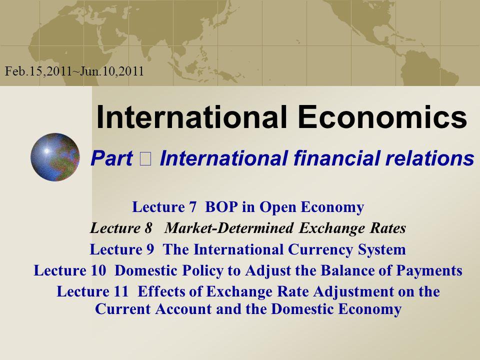 International Economics Lecture 8 Market-Determined Exchange Rates Feb.15,2011~Jun.10,2011