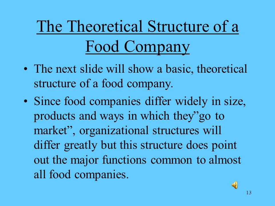 13 The Theoretical Structure of a Food Company The next slide will show a basic, theoretical structure of a food company.