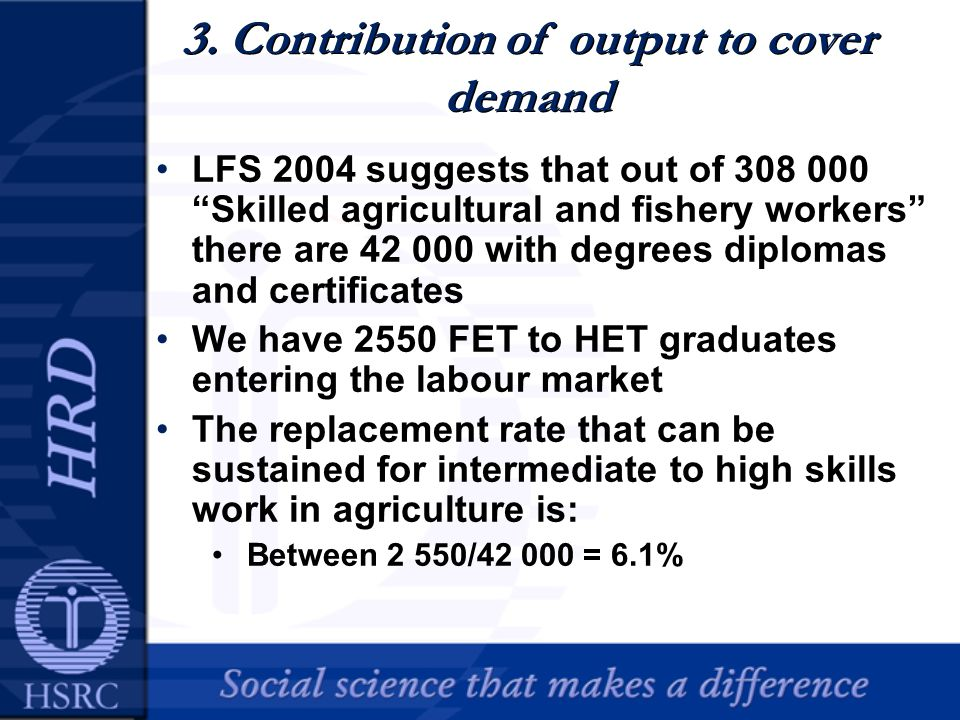 3. Contribution of output to cover demand LFS 2004 suggests that out of 308 000 Skilled agricultural and fishery workers there are 42 000 with degrees