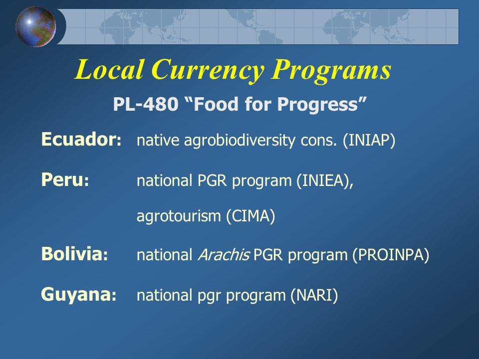 Local Currency Programs PL-480 Food for Progress Ecuador :native agrobiodiversity cons.