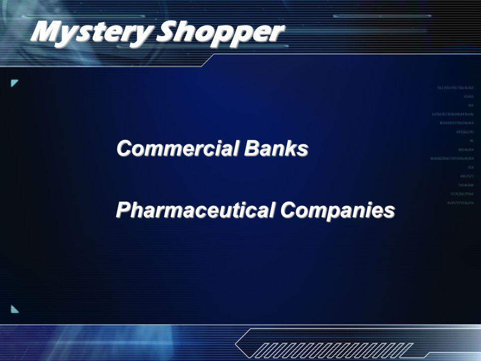 Mystery Shopper Commercial Banks Pharmaceutical Companies