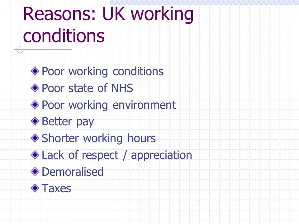 Reasons: UK working conditions Poor working conditions Poor state of NHS Poor working environment Better pay Shorter working hours Lack of respect / a