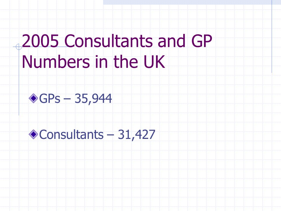 2005 Consultants and GP Numbers in the UK GPs – 35,944 Consultants – 31,427