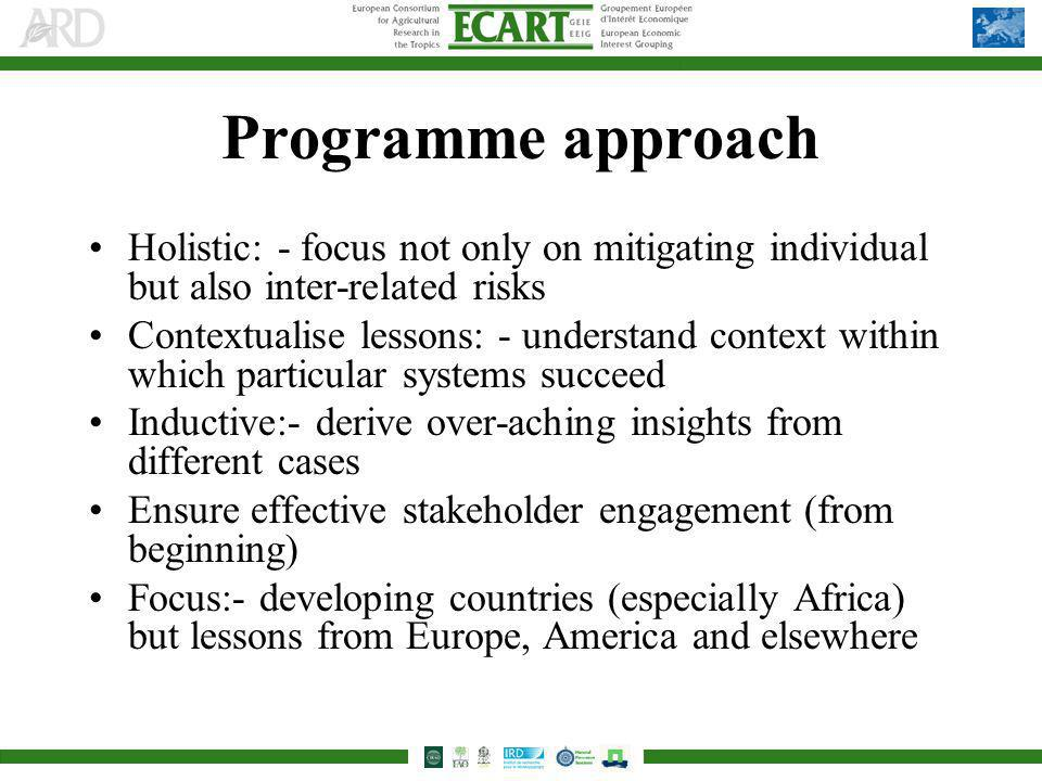 Programme approach Holistic: - focus not only on mitigating individual but also inter-related risks Contextualise lessons: - understand context within which particular systems succeed Inductive:- derive over-aching insights from different cases Ensure effective stakeholder engagement (from beginning) Focus:- developing countries (especially Africa) but lessons from Europe, America and elsewhere