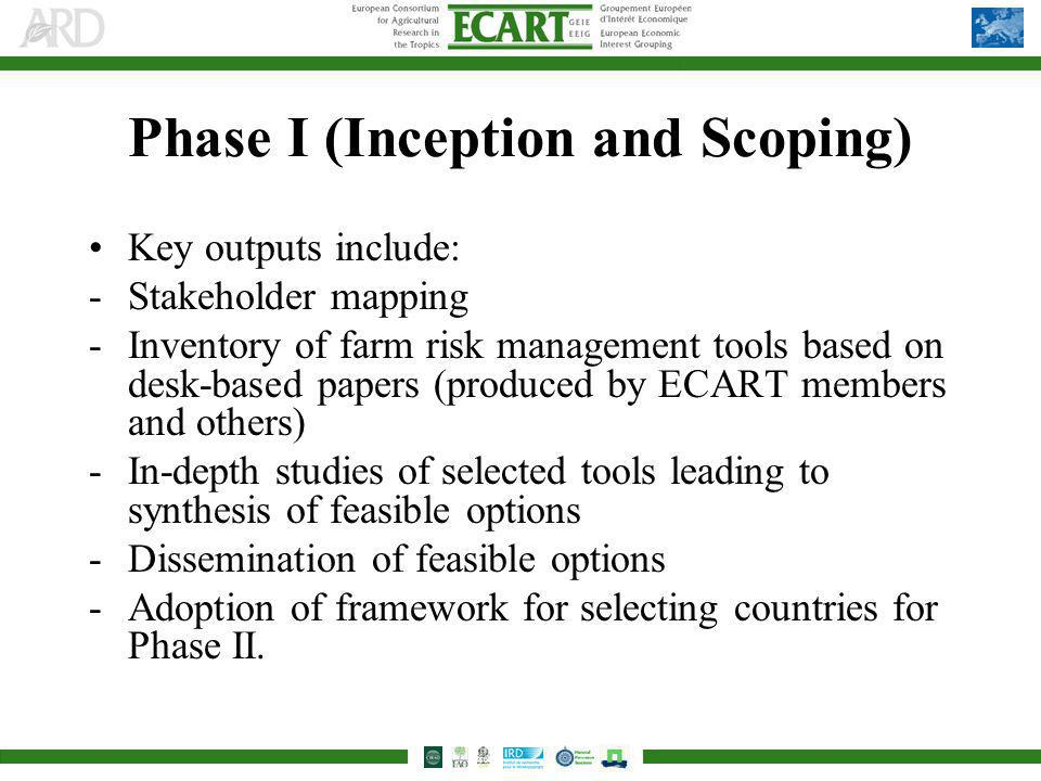 Phase I (Inception and Scoping) Key outputs include: -Stakeholder mapping -Inventory of farm risk management tools based on desk-based papers (produced by ECART members and others) -In-depth studies of selected tools leading to synthesis of feasible options -Dissemination of feasible options -Adoption of framework for selecting countries for Phase II.
