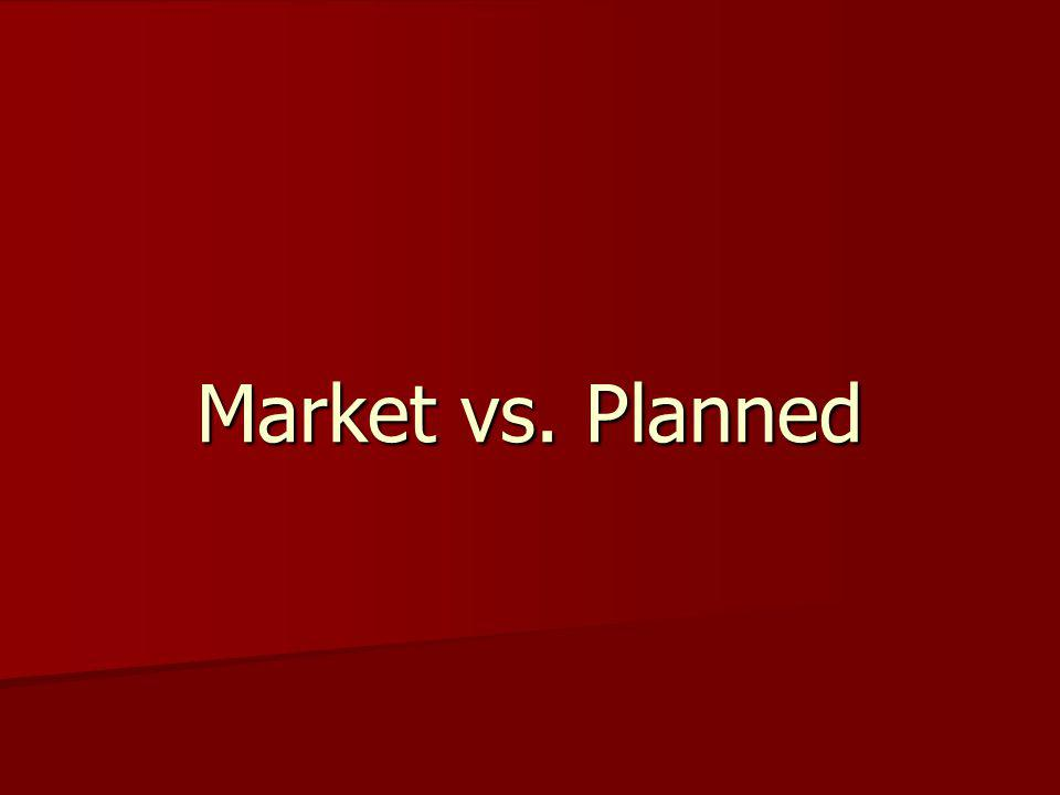 Market Based Economy Private Property - Individuals, rather than government, are the owners of resources, goods, etc.