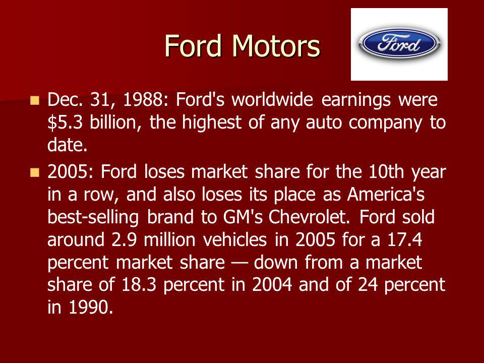 Ford Motors Dec. 31, 1988: Ford's worldwide earnings were $5.3 billion, the highest of any auto company to date. 2005: Ford loses market share for the