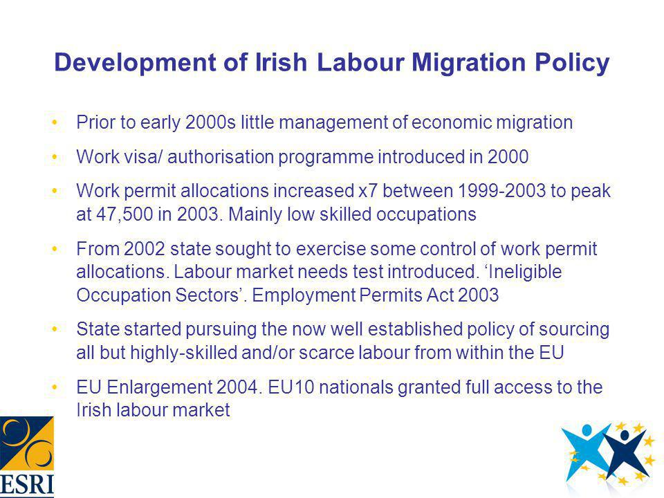 Development of Irish Labour Migration Policy Prior to early 2000s little management of economic migration Work visa/ authorisation programme introduce