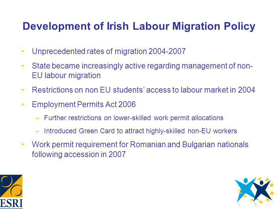 Development of Irish Labour Migration Policy Unprecedented rates of migration 2004-2007 State became increasingly active regarding management of non-