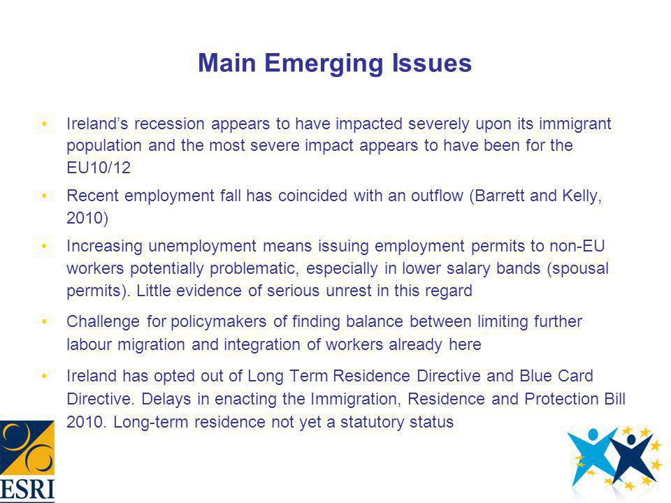 Main Emerging Issues Irelands recession appears to have impacted severely upon its immigrant population and the most severe impact appears to have bee