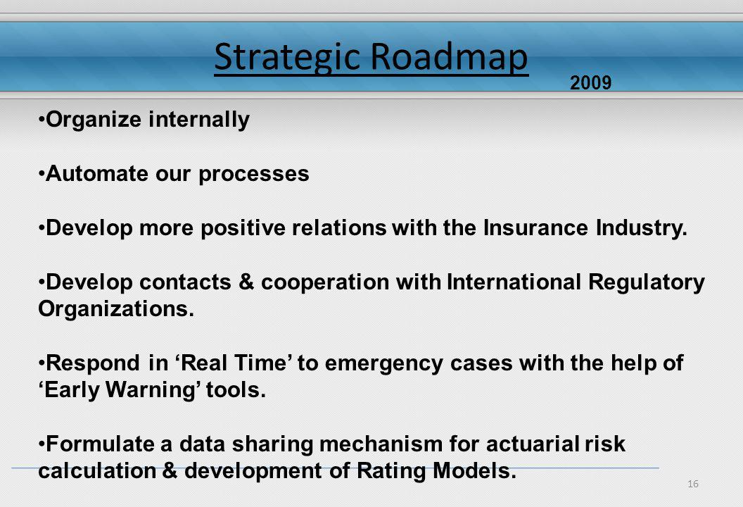16 Strategic Roadmap Organize internally Automate our processes Develop more positive relations with the Insurance Industry.