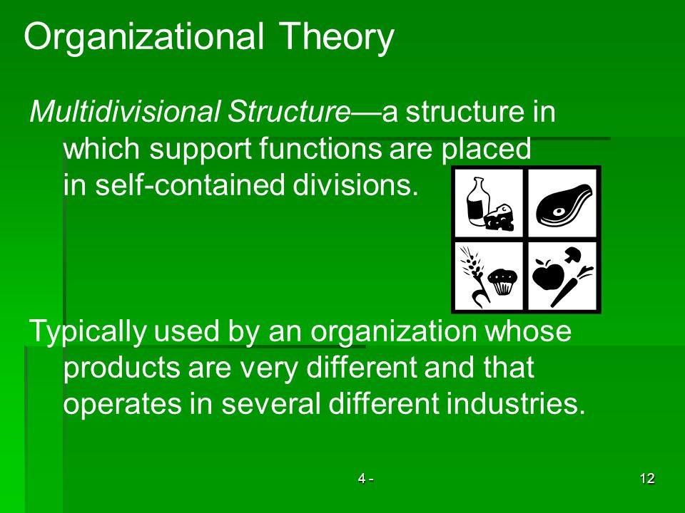 4 -12 Organizational Theory Multidivisional Structurea structure in which support functions are placed in self-contained divisions. Typically used by
