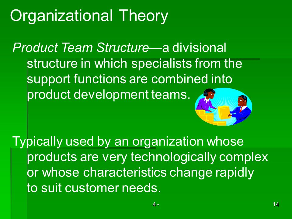4 -14 Organizational Theory Product Team Structurea divisional structure in which specialists from the support functions are combined into product development teams.