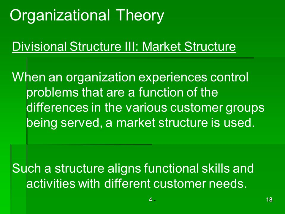 4 -18 Organizational Theory Divisional Structure III: Market Structure When an organization experiences control problems that are a function of the di