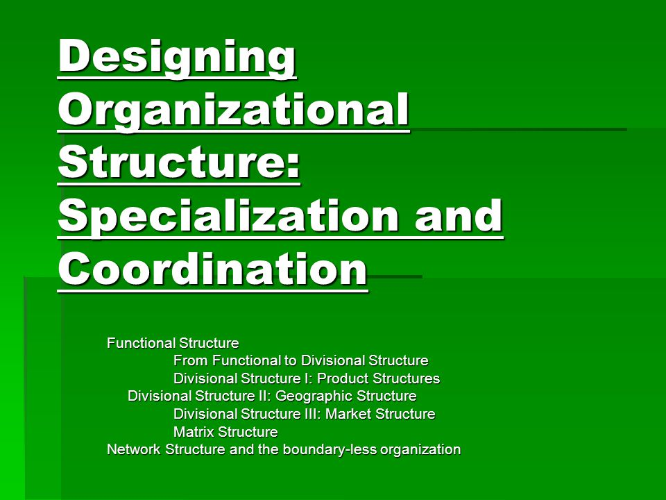Functional Structure From Functional to Divisional Structure Divisional Structure I: Product Structures Divisional Structure II: Geographic Structure Divisional Structure II: Geographic Structure Divisional Structure III: Market Structure Matrix Structure Network Structure and the boundary-less organization