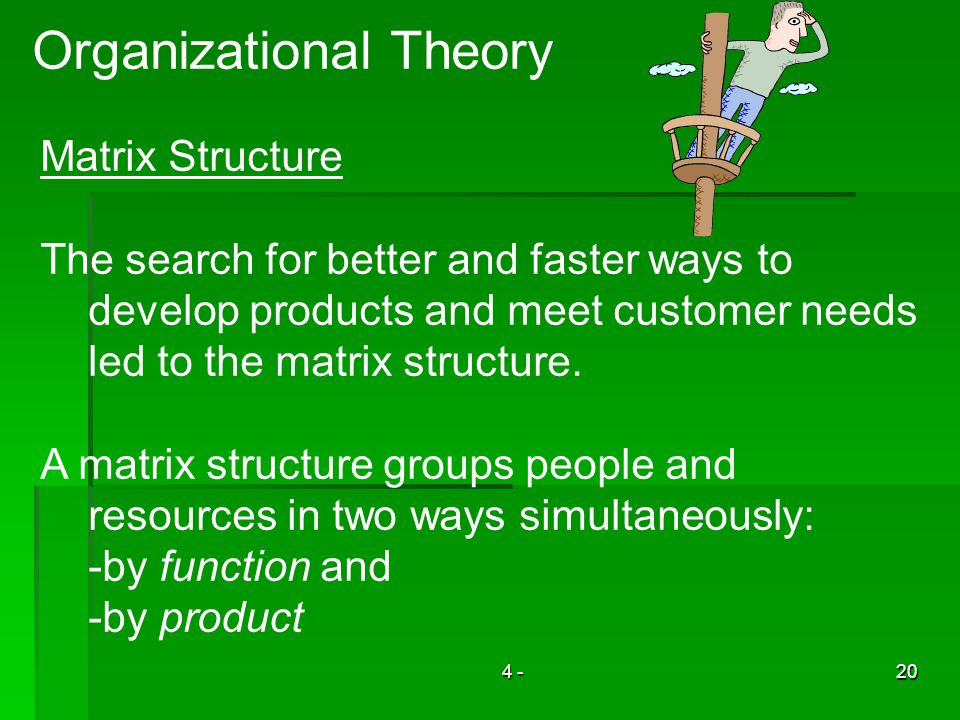 4 -20 Organizational Theory Matrix Structure The search for better and faster ways to develop products and meet customer needs led to the matrix structure.