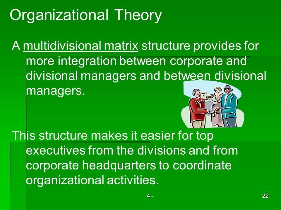 4 -22 Organizational Theory A multidivisional matrix structure provides for more integration between corporate and divisional managers and between divisional managers.