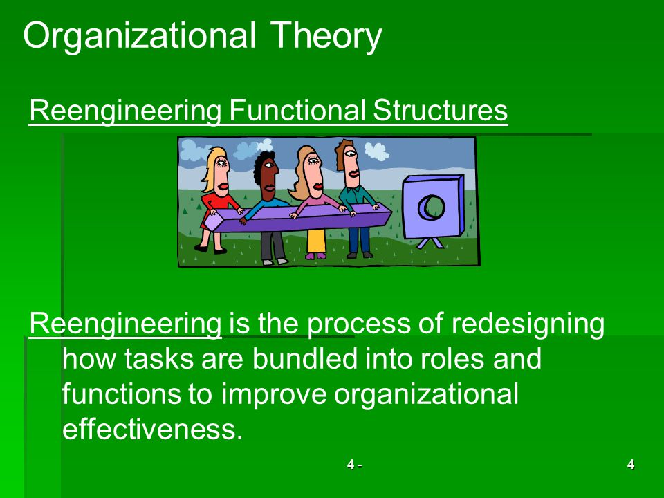 4 -4 Organizational Theory Reengineering Functional Structures Reengineering is the process of redesigning how tasks are bundled into roles and functions to improve organizational effectiveness.