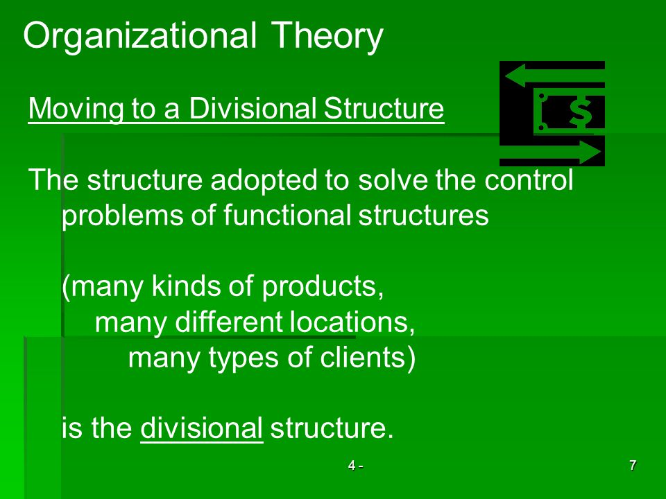 4 -7 Organizational Theory Moving to a Divisional Structure The structure adopted to solve the control problems of functional structures (many kinds of products, many different locations, many types of clients) is the divisional structure.