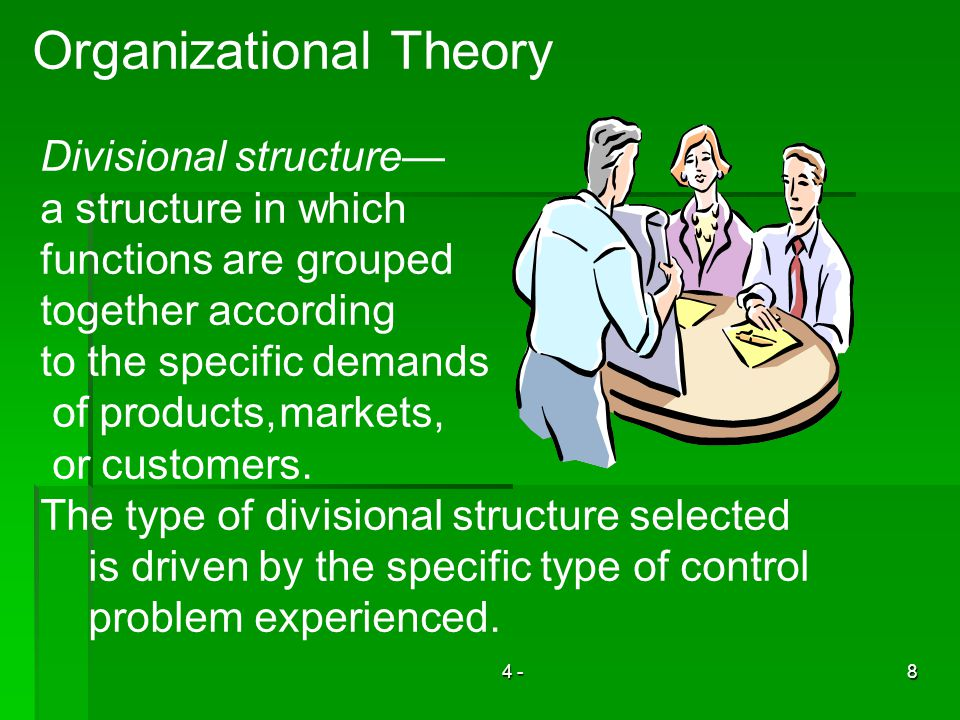 4 -8 Organizational Theory Divisional structure a structure in which functions are grouped together according to the specific demands of products,markets, or customers.