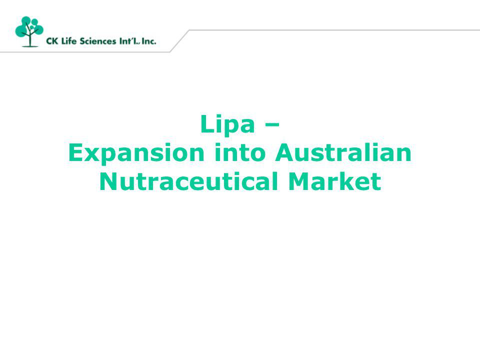 Lipa – Expansion into Australian Nutraceutical Market