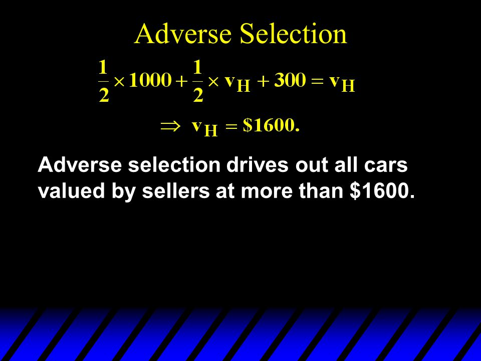 Adverse Selection Adverse selection drives out all cars valued by sellers at more than $1600.